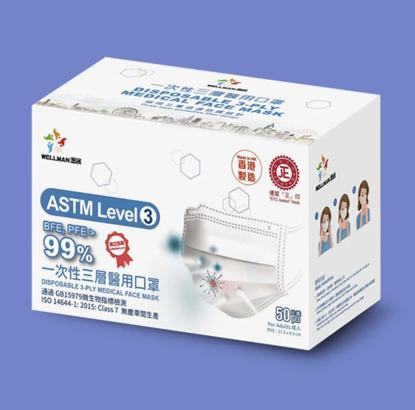 圖片 Wellman 成人醫用口罩 ASTM LEVEL 3 (6盒以上)